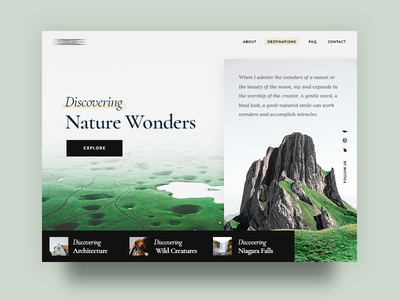 Wild Nature website mockup web ux ui modern minimal landing slider clean