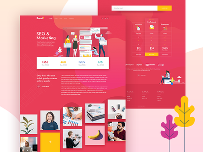 BoostUp - SEO Marketing Agency Theme website mockup qode vector marketing illustration seo agency colorful landing page landing creative web mikado-themes theme design ui ux wordpress modern