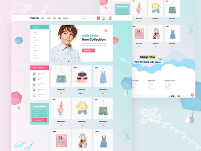 Cocco store kids illustration website mockup colorful shop agency landing page landing creative web design theme wordpress ux ui clean modern