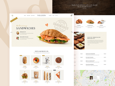 Panadería shop product page web modern landing page theme wordpress design ux clean ui food bloggers bars cafeterias coffee shops bistros pastry shops bakeries