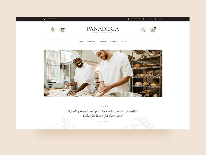 Panadería minimal website mockup web landing page shop ux clean ui modern landing theme design food bloggers bars cafeterias coffee shops bistros pastry shops bakeries