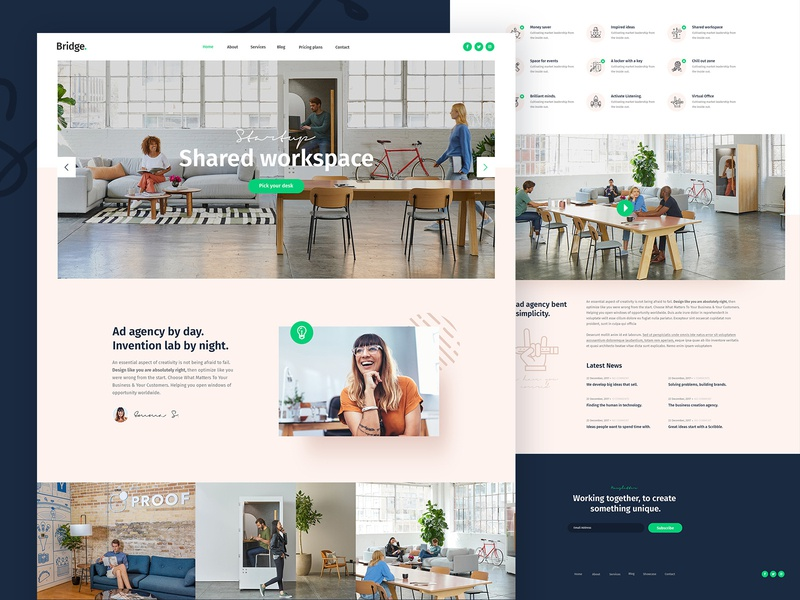 Shared Workspace coworking space agency startup workspace coworking creative web landing page landing wordpress theme ux ui clean design modern