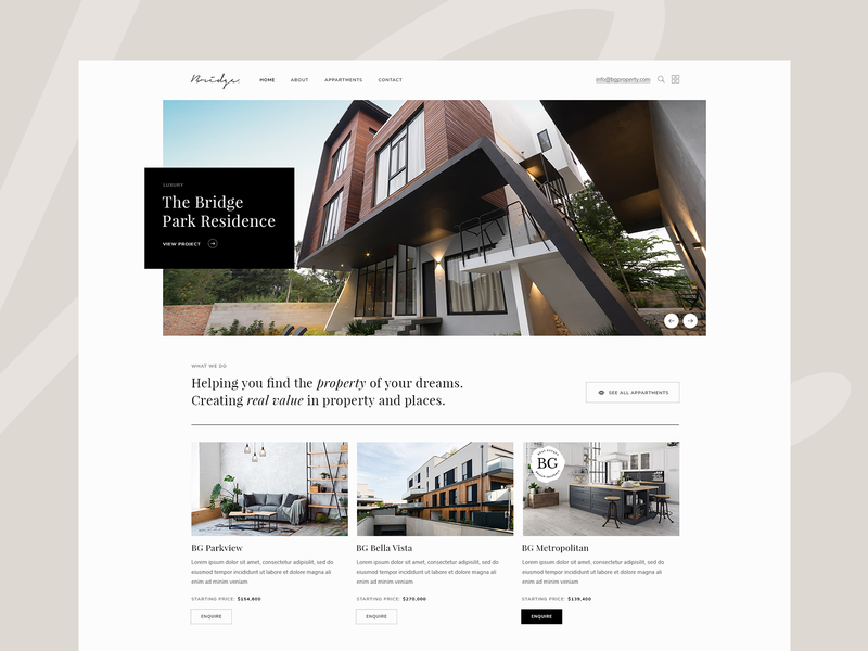 Property Showcase property marketing listing appartments architecture property minimal web theme ux ui landing page landing design clean modern