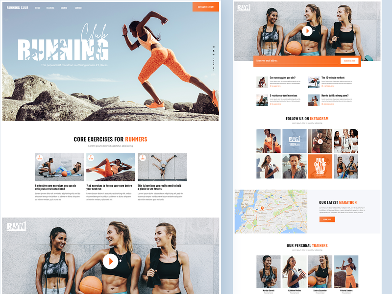 Running Crew gym marathon fitness sport running club running colorful web landing page landing theme ux ui design clean modern