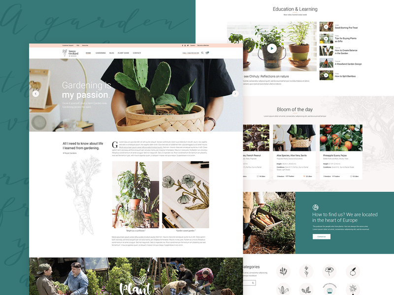 Sunny Orchard 🌱🥕 florist flower shop orchard green landingpage landing design ux ui modern theme events donations plants shop organic farm landscape gardening