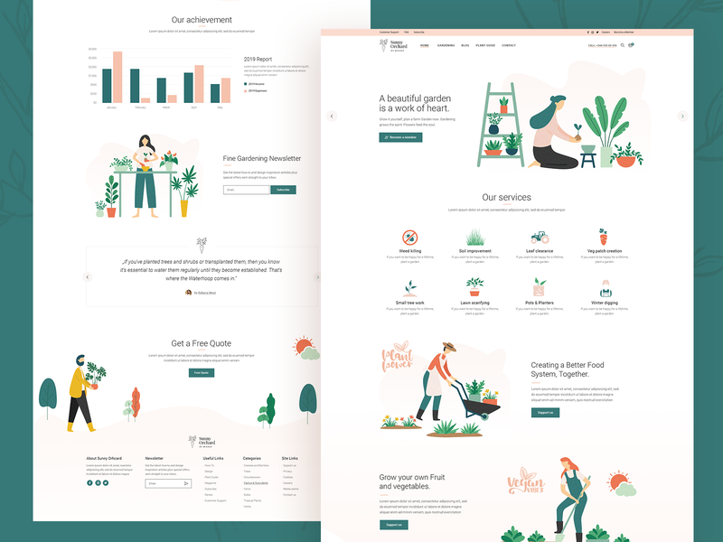 Sunny Orchard 🌱🥕 orchard vegetables flower plants organic farm landscaping gardening illustrations colorful minimal web landing page landing ux ui design clean modern