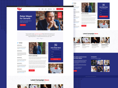 Political Candidate candidate colorful theme design modern web ux ui landing page landing webdesign politics political campaign politician