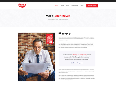 Political Candidate politician political campaign colorful landing page landing theme clean design ux ui modern biography candidate politic