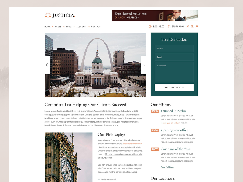 Justicia - Lawyer and Law Firm Theme wordpress web minimal landing landing page theme clean ux ui design law firm lawyer law
