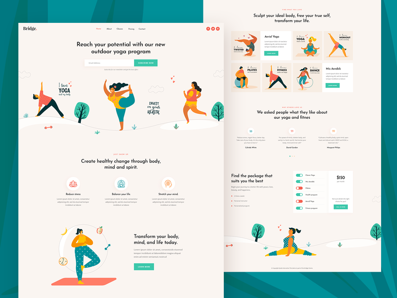 Yoga and Pilates workout fitness pilates yoga creative minimal landing page landing theme clean ux ui modern design illustration