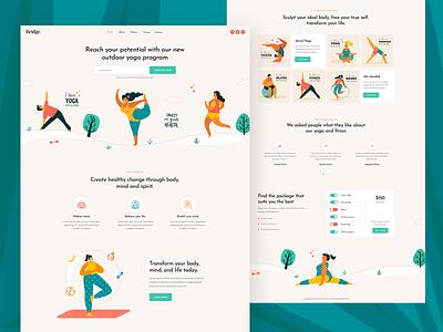 Yoga and Pilates workout fitness pilates yoga creative minimal landing page landing theme clean ux ui modern design illustration
