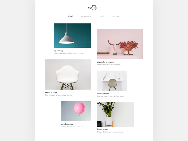 Website for Interior company asymmetric grid white simple scandinavian minimal interior web website