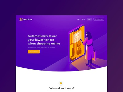 Best Price Landing Page shopping money illustration website
