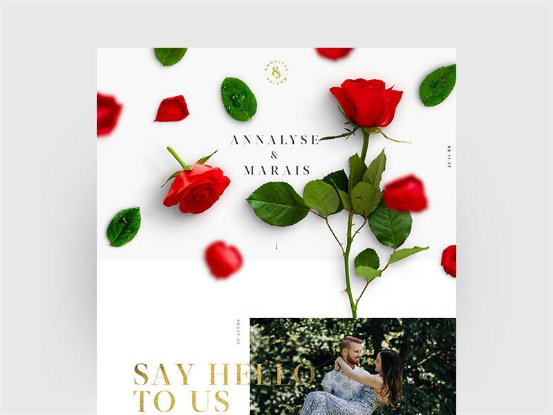 Dribble2 parallax roses wedding design wedding invite wedding website