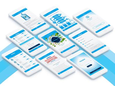 Rosiana app (Dew) water visual design ux uiux ui mobile app blue