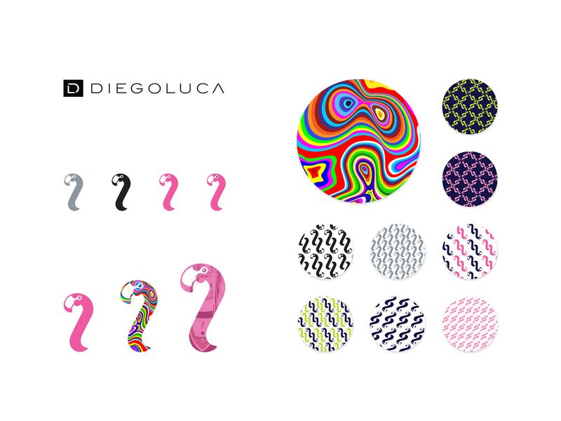 DIEGOLUCA logo and pattern design flamingo logo apparel design pink flamingo flamingo color  pattern pattern illustration logo design design logo branding corporate identity visual design