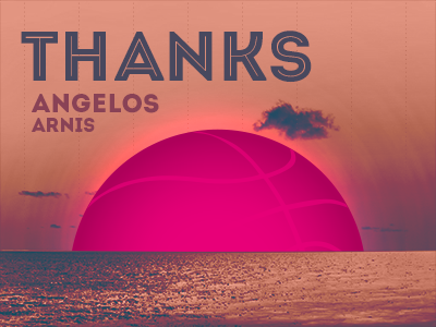 Thanks Angelos thanks invitation invite thank you first shot dribbble sunset debut