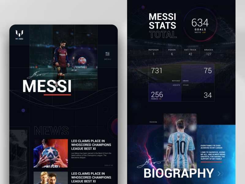 MESSI Web redesign fifa champion sport soccer stats original ui athlete dark web score messi