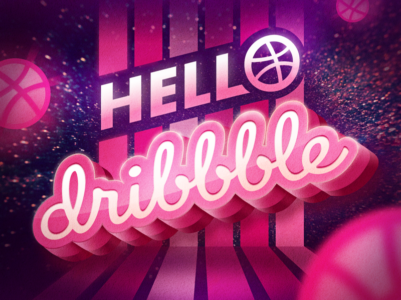 Hello! Dribbble stage firstshot debut original illustration hello dribble