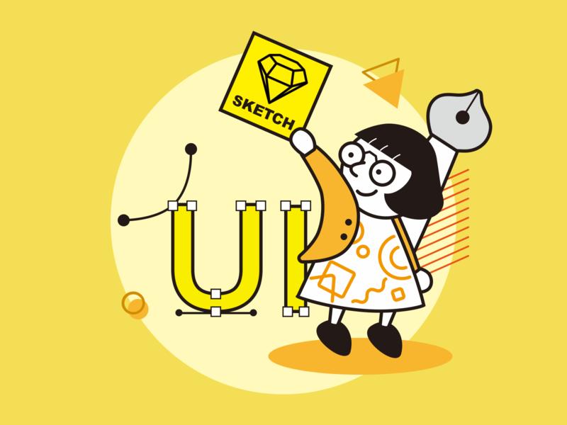 UI desginer orange yellow career work designer girl draw job design sketch painter original illustration ui