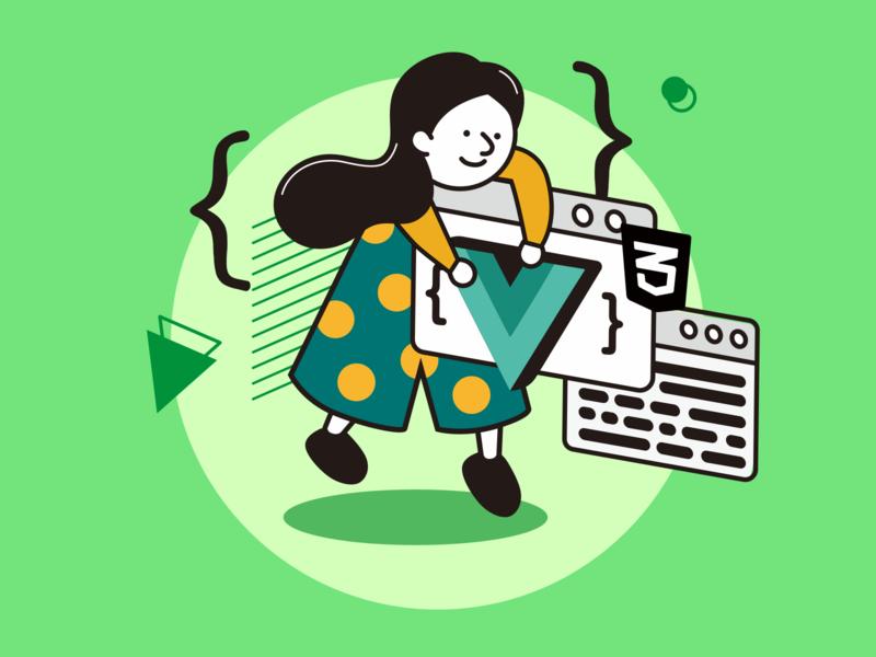 Frontend Engineer frontend coding debug work job career girl html5 css windows green vue code engineer