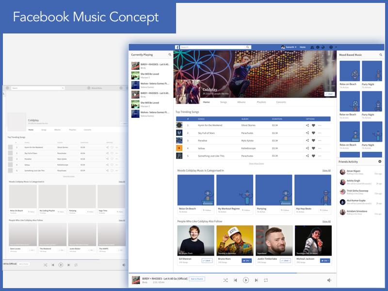 Facebook Music Concept UI