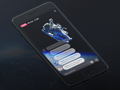 NASA Stream Chatbot spacewalk astronaut space iphone ios video stream chatbot chat live live app nasa