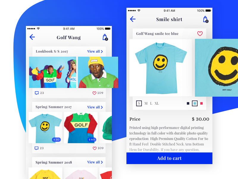 E-commerce concept overlapping shirt smile lookbook product card store fashion hip-hop mobile ios golf wang e-commerce