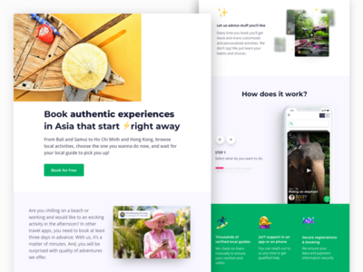 Landing page for new travel project design sketch landing page tourist product product page application startup app site web emoji asia travel landing
