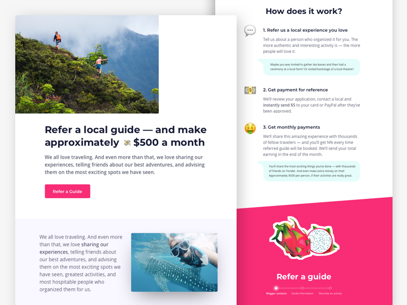 Landing page for travel guides start up landing page product sketch landing site web toursim guide travel asia applicaiton app