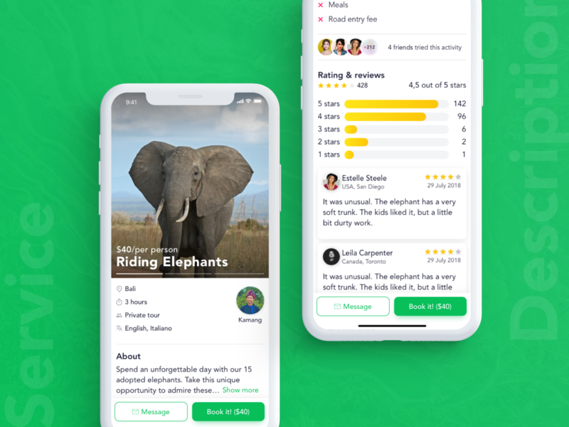 YonderApp Service Description Screen airbnb service description reviews rating elephants animals sketch travel application ui uidesign application app mobile ios