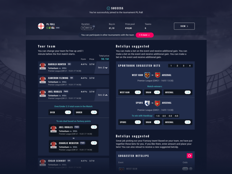 Fantasy Sport Success Page success congratulations congratulation soccer fantasy football fantasy sports gambling bet betting design web site sketch ui