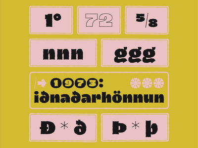 Dingos number eth thorn fat black fraction contextual alternates diacritics icelandic logo book texture outline heavy handwritten type tipografia font typeface typography