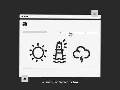 ⚠️ you can now live test Antipixel icons on the site storm website lighthouse beach sun sea weather sampler tester icons texture heavy outline bold handwritten type tipografia font typeface typography