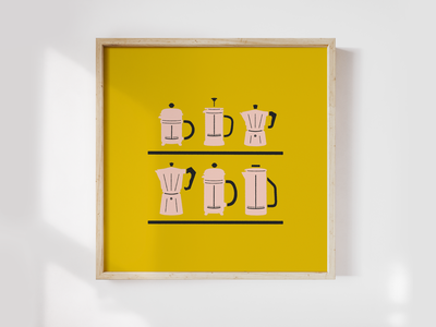 ☕️ A good dose of coffee to start the day roast latte ristretto espresso barista diner mug mustard french press volturno wood pink yellow illustration art frame canvas society6 coffee wall art