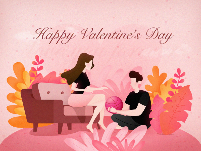 Hello dribbble love couples hellodribbble hello dribble pink valentines day valentines lover illustration