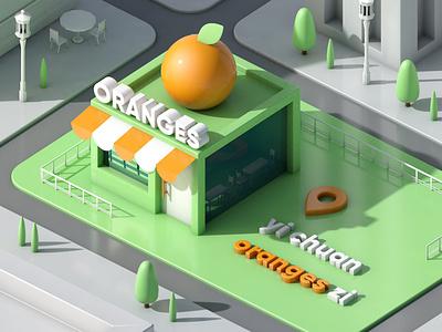 Orange Convenience Store color navigation address green store convenience store c4d branding illustration design china
