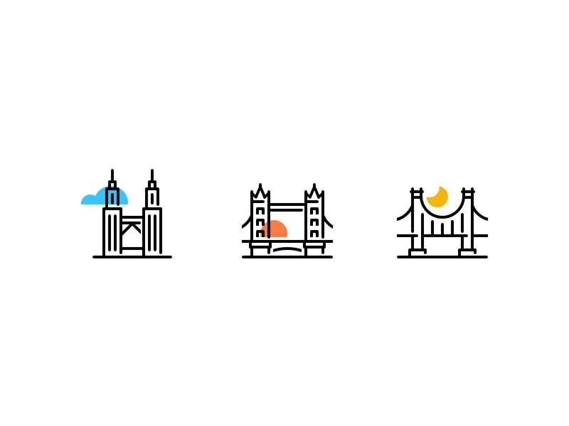 City icons part2 london bridge brooklyn bridge illustration design logo cities city icons