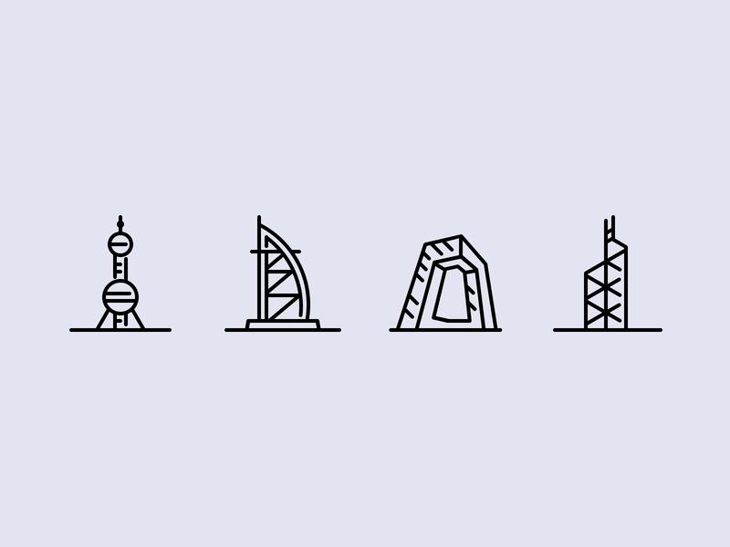 City icons part4 hongkong burj al arab illustration icons