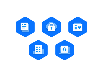 Five core functions graphics icons illustration