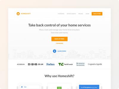 Homeshift - Landing Page #2 landing page design landing page ui ux web branding ux ui minimalist minimalism minimal minimalistic