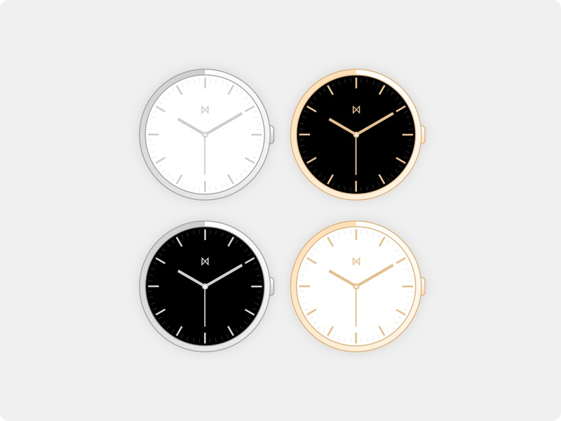 Minimalist Watches - Watch Face Colour Concepts white black silver gold watchface watches watch vector branding minimalist minimalism minimal minimalistic