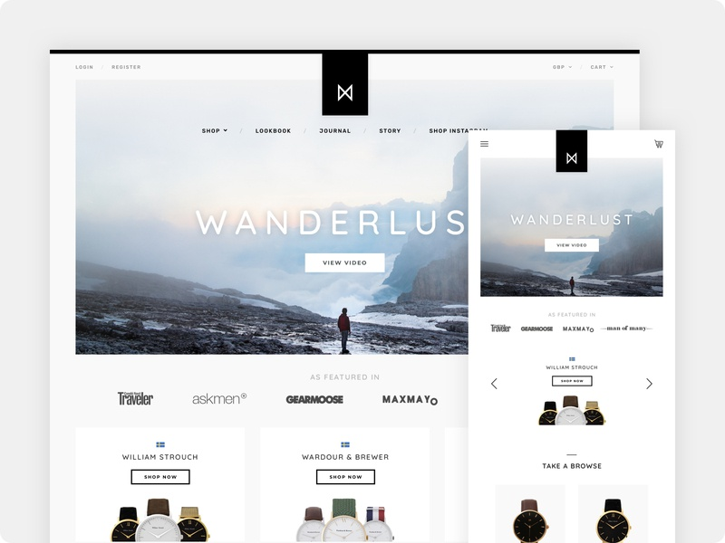 Minimalist Watches - Landing Page Concept #2 ui ux shopify ecommerce mobile design mobile watches design branding web ux ui minimalist minimalism minimal minimalistic