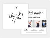 Minimalist Watches - Thank You Cards design cards flyer design flyer print design print branding minimalist minimalism minimal minimalistic