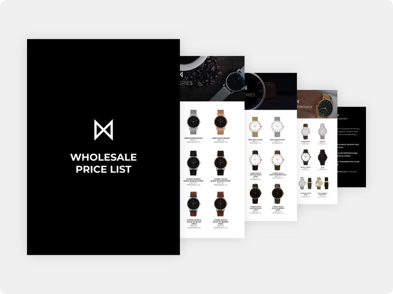 Minimalist Watches - Wholesale Price List Booklet booklet design booklet print design print black design branding minimalist minimalism minimal minimalistic
