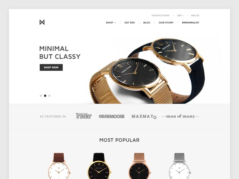 MinimalistWatches.com Redesign (in progress) watches design ui shop ecommerce shopify web minimalistic minimalism minimal