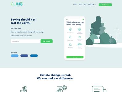 Clim8 invest home page uidesign vector layout illustration app design website concept design ui homepage invest