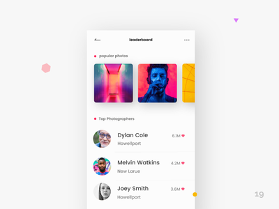 Leaderboard - Daily UI:: #019 mobile app colors photography app leaderboard dailyui