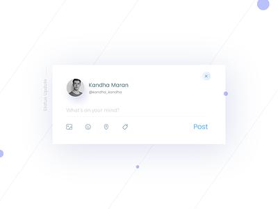 Status Update- Daily UI:: #081 day81 statusupdate facebook update ui status blue soft profile minimal like dailyui