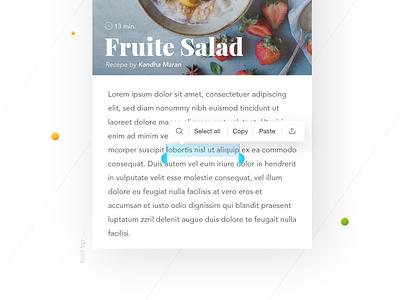 Tool Tip- Daily UI:: #087 font elegant salad fruite recepe texttooltip app ui tooltip helvetica application